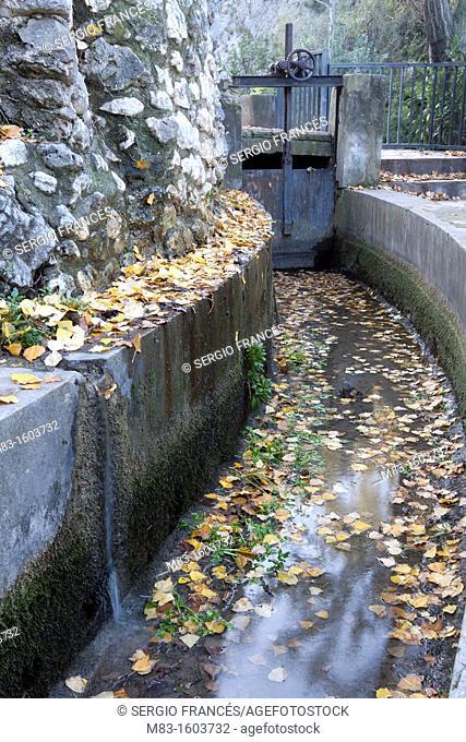 Irrigation ditch in Pou Clar, Ontinyent, Comunidad Valenciana, Spain