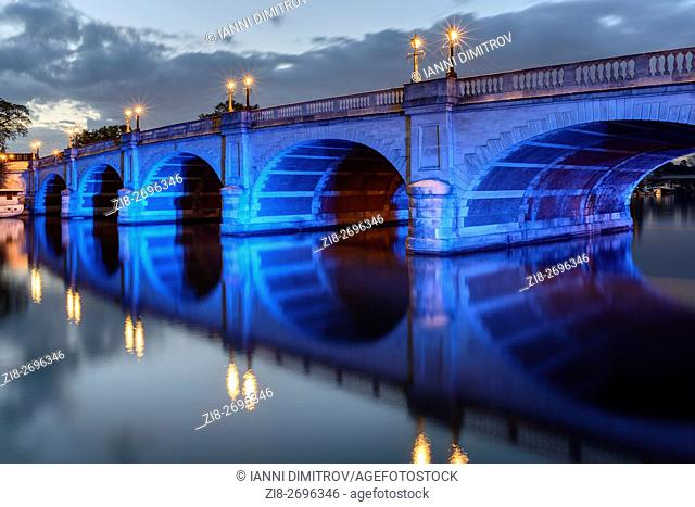 Kingston Bridge at night,Kingston Upon Thames,Surrey,England