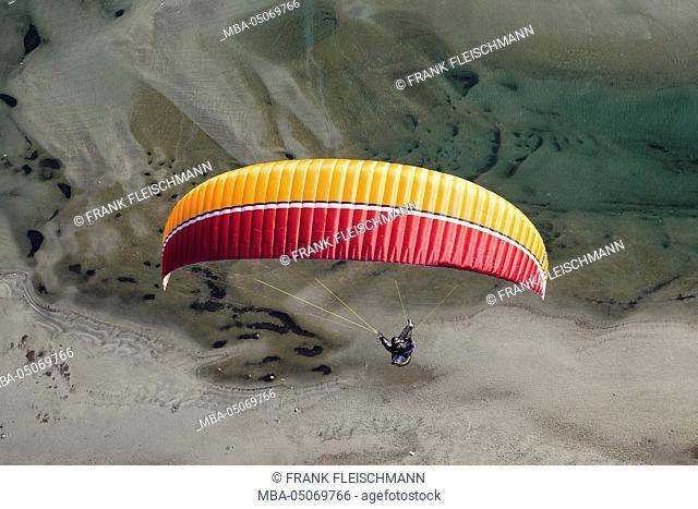 Paraglider, flight, Paragliding, enjoyment, vacation, Lago Maggiore, Maggia delta, mountain lake, Locarno, aerial view, Ticino, Switzerland