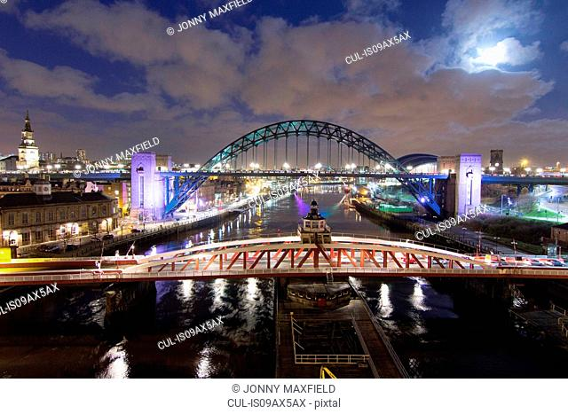Swing bridge and Tyne bridge at night, Newcastle, UK