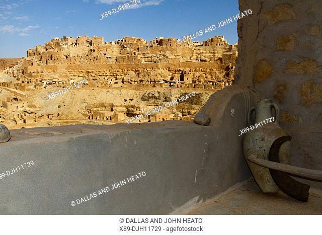 Africa, Tunisia, Mountainside Berber Village of Chenini, Troglodyte Cave dwellings, Pottery