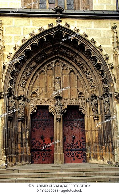 The entrance to Benedictine monastery church in Hronsky Benadik, Slovakia