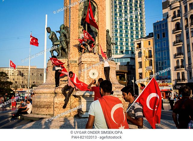 People gathered in Istanbul on July 16, 2016 at Taksim square for a demonstration in support of President Erdogan and to celebrate the failed military coup