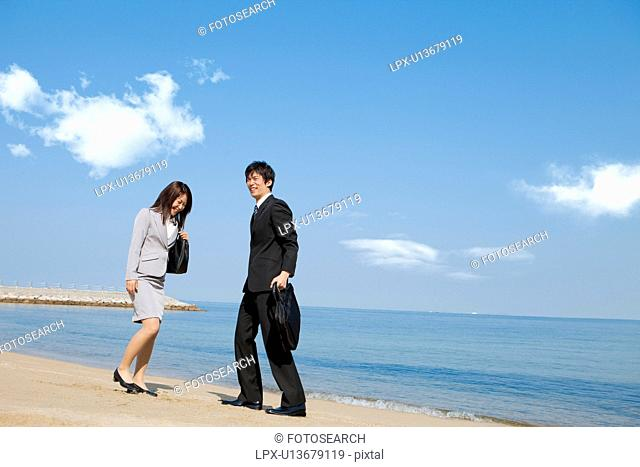 Business people at beach