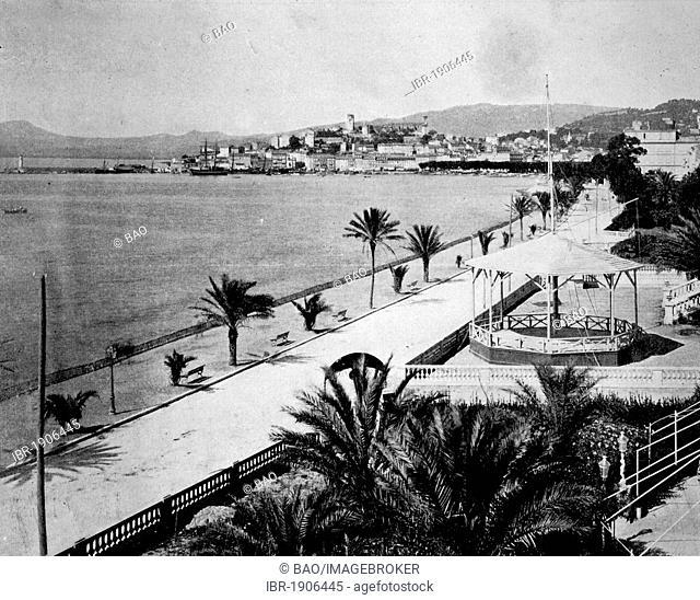 Early autotype Cannes, Côte d'Azur, France, 1880