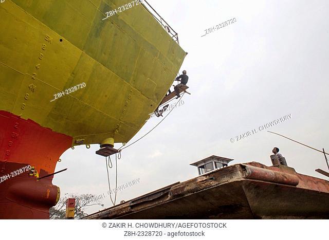 Shipyard workers near the Buriganga River in Dhaka.There are more than 35 shipyards in Old Dhakas Keraniganj area in the bank of the river Burigonga