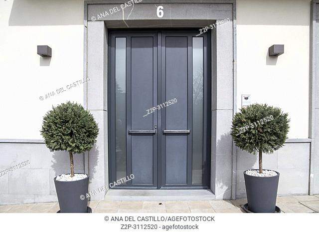 Cizur Menor village in Navarre Spain Number six door entrance in residential building