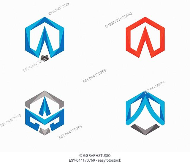 A Logo Hexagon illustration Icon Vector Template