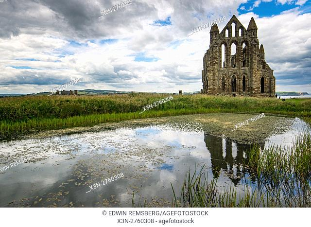 UK, England, Yorkshire - far off view of the Whitby Abbey, located in England