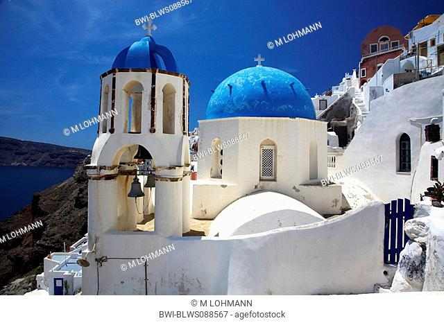 bell tower of the church Agios Charalabos, Greece, Santorin, Oia