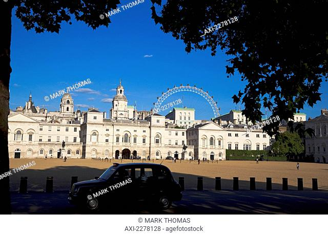 View over Horse Guards Parade towards the London Eye, Westminster; London, England