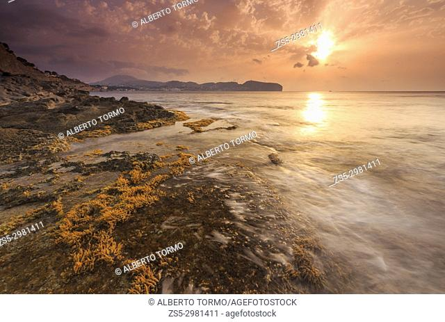 Sunrise at Cap Blanc in Moraira, with cap d'Or view, Teulada Moraira, Alicante, Costa Blanca, Comunidad Valenciana, Spain, Europe