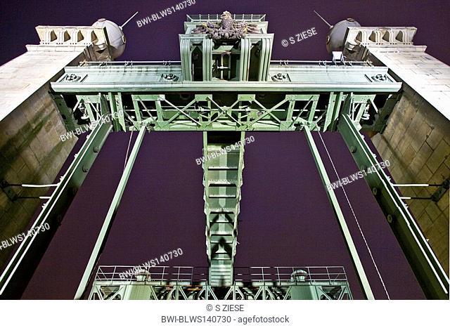 Industrial Museum Ship Lift Henrichenburg in twilight, Germany, North Rhine-Westphalia, Ruhr Area, Waltrop