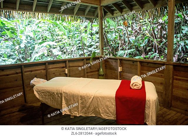Incredible massage room with massage table in the open air. Wonderful experience getting a massage at a very authentic spa in the middle of the mountain and...