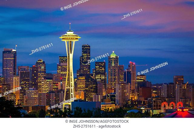 Seattle skyline at dawn on a winter day in February