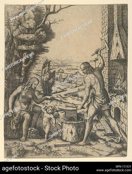 Venus at left holding a golden apple in her right hand and an arrow in her left, Vulcan at his forge beating a piece of iron on an anvil