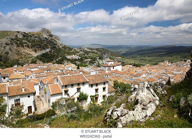 View over Andalucian white village, Grazalema, Sierra de Grazalema Natural Park, Andalucia, Spain, Europe