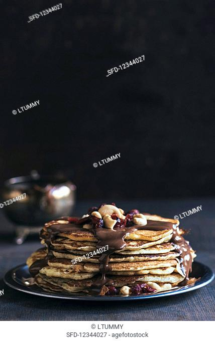Served homemade american pancakes with chocolate sauce