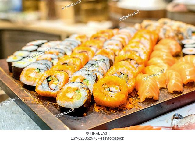 Row of Traditional Japanese sushi rolls