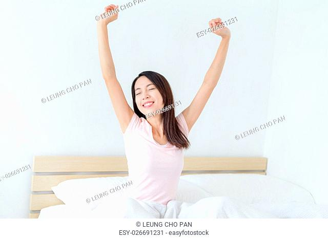 Woman hand raised up at morning