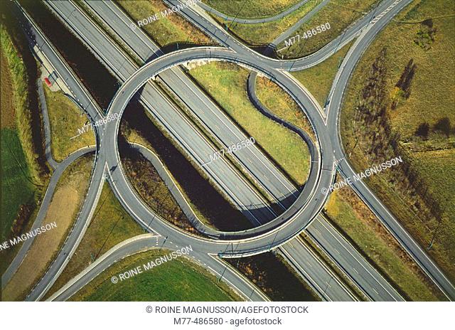 Rondell, roads in landscape, meeting point, aerial view. Kristianstad, Skåne, Sweden
