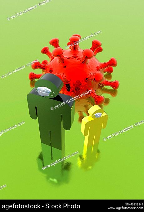 Coronavirus infection control, conceptual illustration