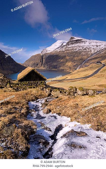 Turf roofed hut in the ancient village of Saksun on the island of Streymoy, Faroe Islands, Denmark, Europe