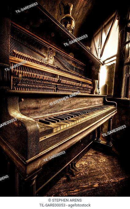 An old upright piano