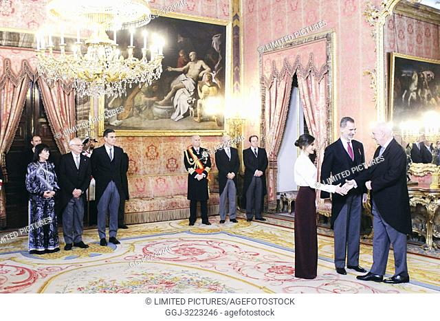 King Felipe VI of Spain, Queen Letizia of Spain attends the Foreign Ambassadors reception at The Royal Palace on January 22, 2019 in Madrid, Spain