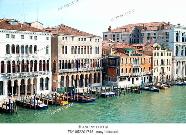 High Angle View Of Colorful Villas And House Along The Grand Canal At Venice