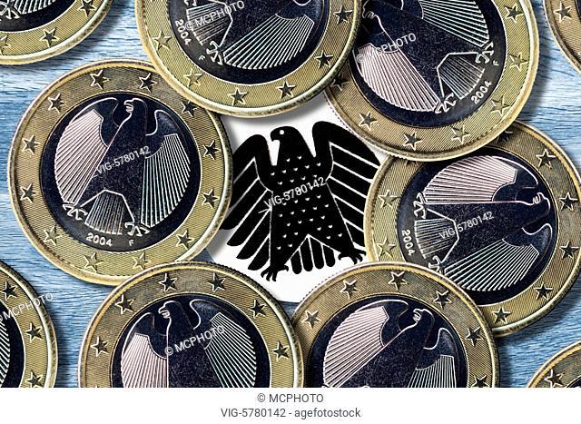 Germany, HAMBURG, 29.11.2016, Euromünzen und Bundesadler, Symbolfoto Lobbyismus - Hamburg, Hamburg, Germany, 29/11/2016