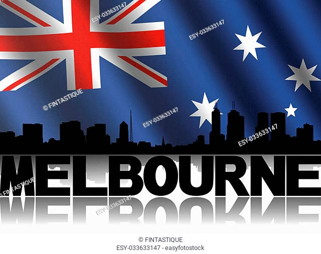 Melbourne skyline and text reflected with rippled Australian flag illustration