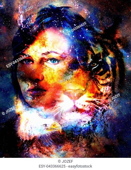 Goodnes woman and tiger and eagle. Cosmic Space background