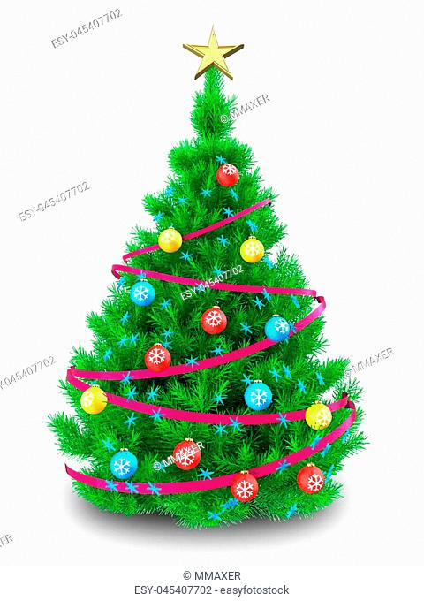3d illustration of vibrant Christmas tree with ribbon over white background