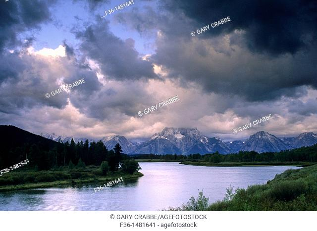 Clouds shroud Mt  Moran on a stormy morning at Oxbow Bend, Snake River, Grand Teton National Park, WYOMING