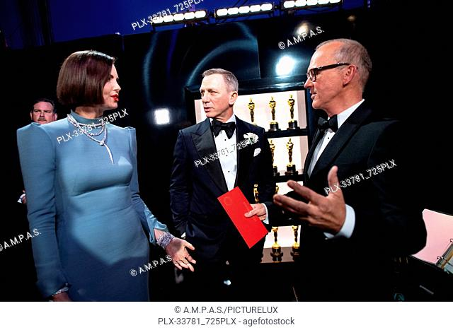 Charlize Theron, Daniel Craig and Michael Keaton backstage during the live ABC Telecast of The 91st Oscars® at the Dolby® Theatre in Hollywood, CA on Sunday
