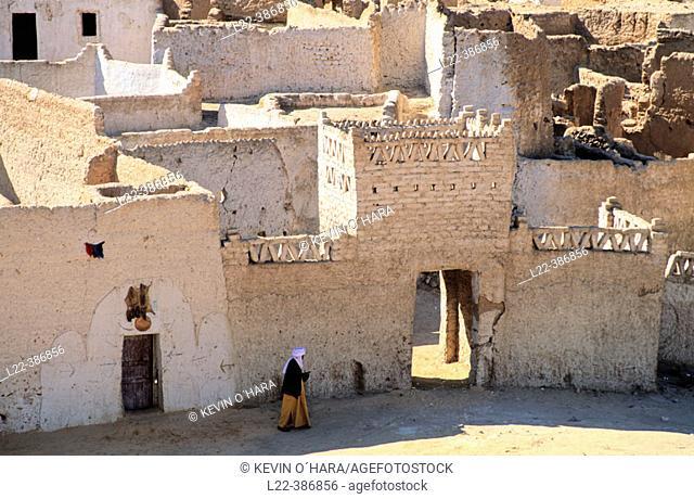 Old city at Ghat Oasis. Medina. Adrar Akakus region. Sahara desert. Libya. Africa