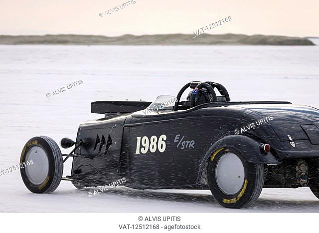 """Street Roadster Class E/STR, a 1934 Ford Roadster with 256"""" Dart V-8 at speed in try for 214.202 mph record on Bonneville Salt Flats during Bonneville Speed..."""