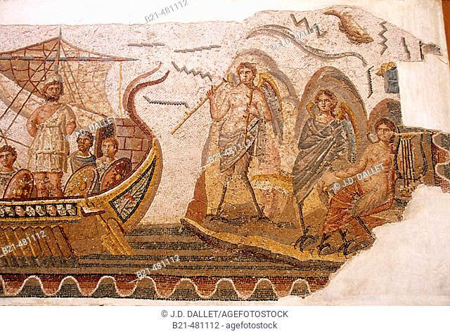 'Ulyses écoutant les sirènes' mosaic (IIIrd.c.) found at Dougga. Bardo Museum at Tunis. Tunisia