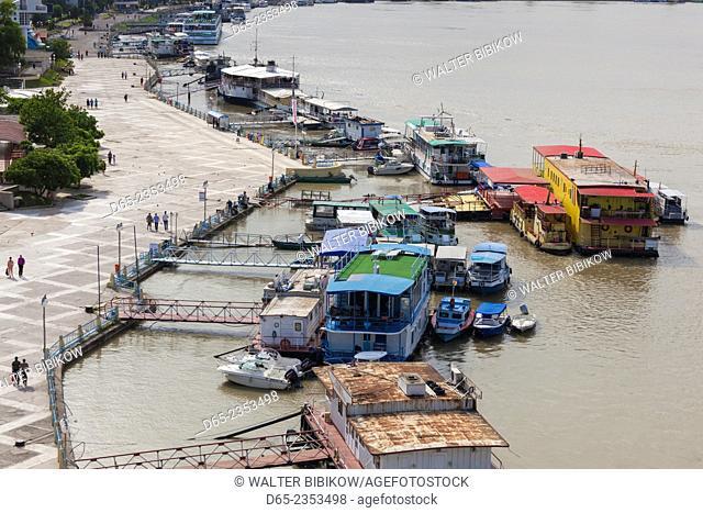 Romania, Danube River Delta, Tulcea, elevated view of the Tulcea Port on the Danube River