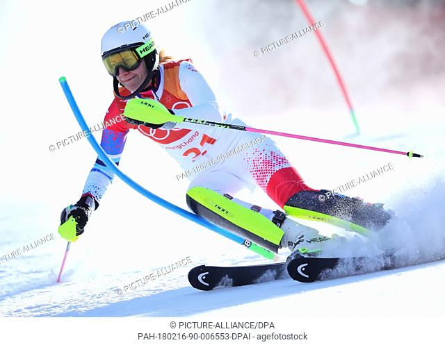 Nevena Ignjatovic of Serbia in the 1st heat of the women's Slalom alpine skiing event during the Pyeongchang 2018 winter olympics in Yongpyong, South Korea