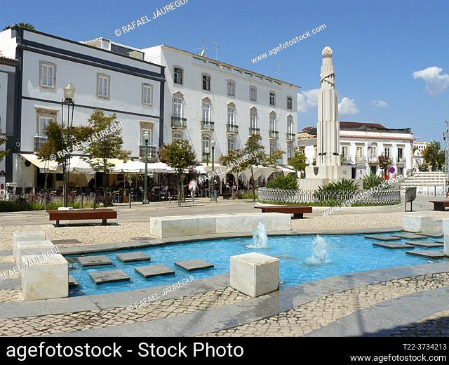 Tavira (Portugal). Republic Square in the town of Tavira