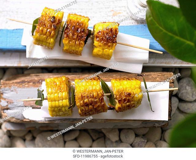 Sweetcorn & bay leaf kebabs