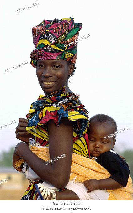 Africa, African, Asleep, Banjul, Family, Gambia, Africa, Headdress, Holiday, Landmark, Mother, Outdoors, Papoose, People, Sleep