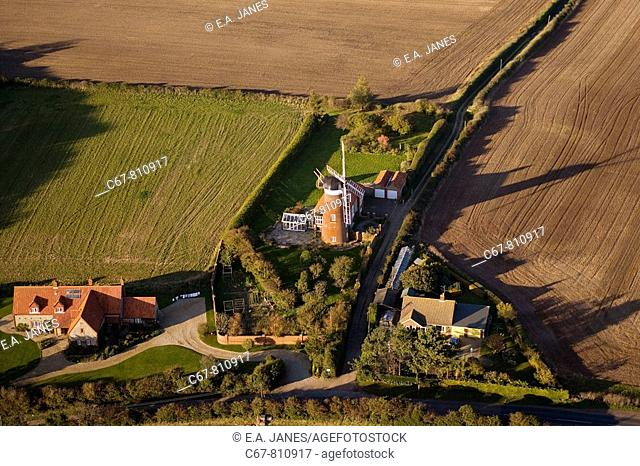 Weybourn Windmill from the air Norfolk UK October