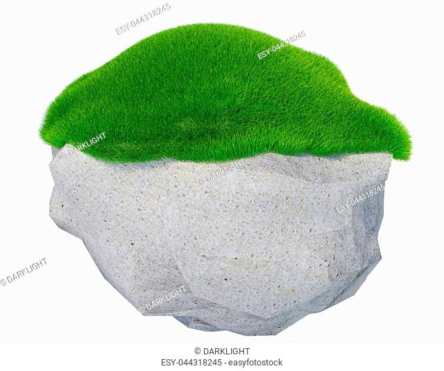 rock green grass isolated in white background - 3d rendering