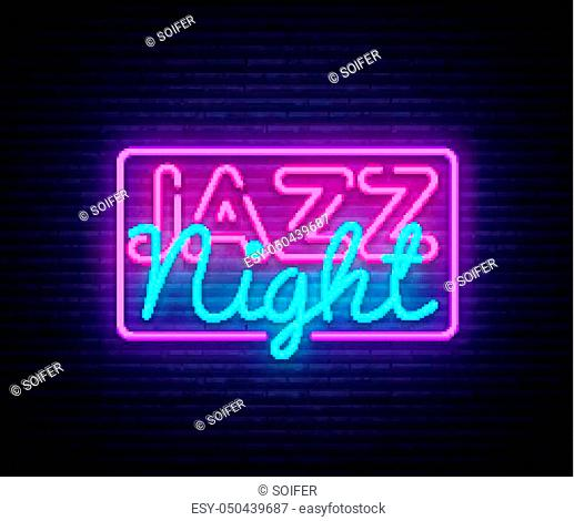 Jazz Night neon sign vector. Jazz Music design template neon sign, light banner, neon signboard, nightly bright advertising. Vector illustration