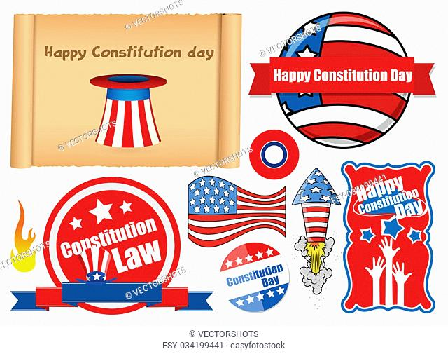 Drawing Art of USA Themed Constitution Day Design Vectors