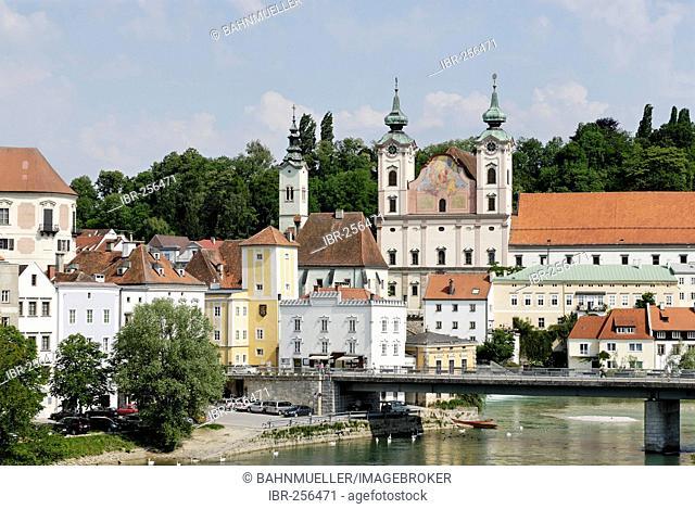 Jesuit church St Michael Steyr Upper Austria upont the river Traun