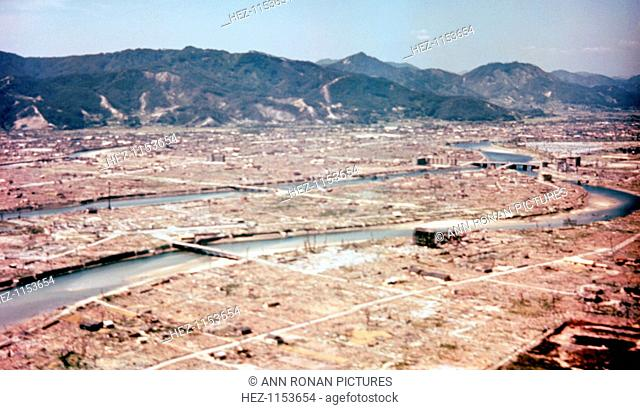 Hiroshima, Japan, after the dropping of the atom bomb in August 1945. On 6 August 1945, a United States Air Force B-29 bomber